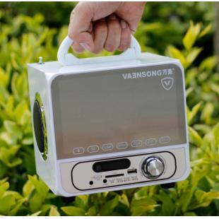 万圣a18广场舞小音响户外低音炮蓝牙无线便携式插卡音箱 白色